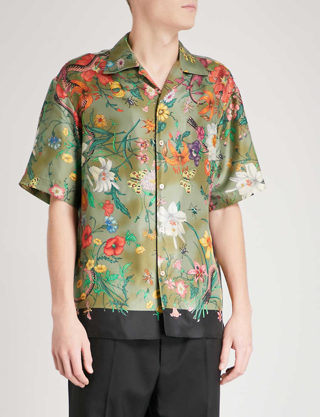 4f00f2be GUCCI - Floral snake-print regular-fit silk-twill shirt | Selfridges.com