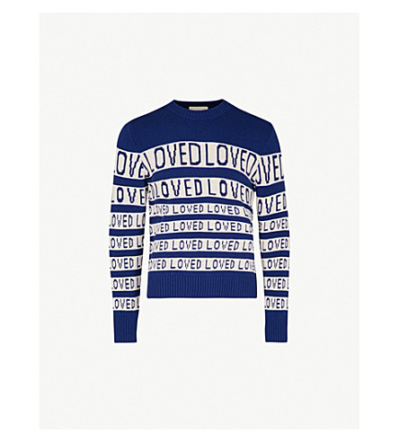 3cd43a8a08a4d GUCCI Loved-motif wool jumper (Ink+white