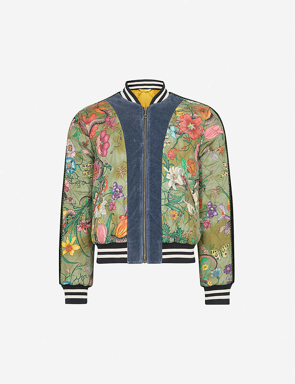 c6fa68fd0 GUCCI - Floral-print quilted satin bomber jacket   Selfridges.com