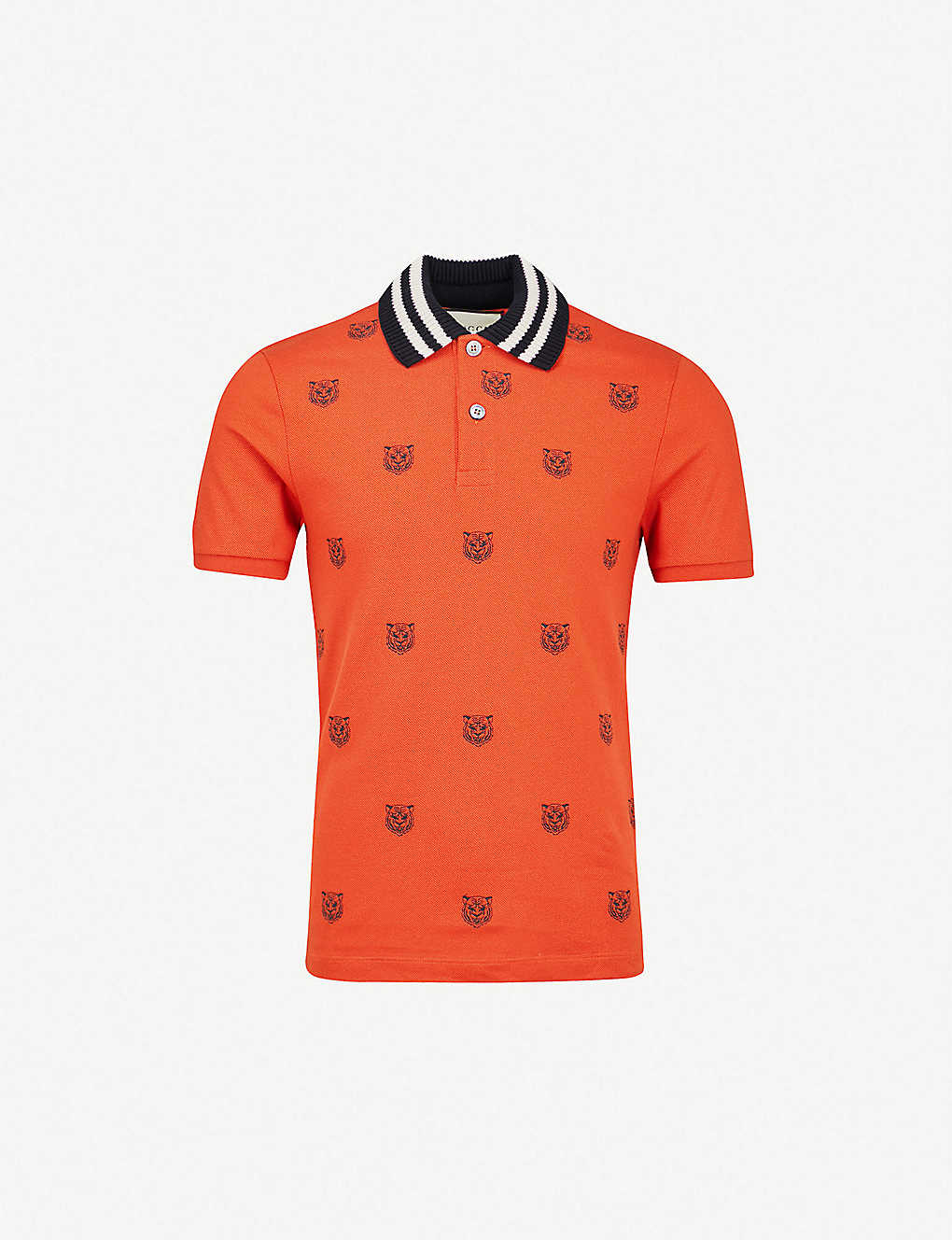 72a02ac5 GUCCI - Tiger-embroidered slim-fit cotton-pique polo shirt ...