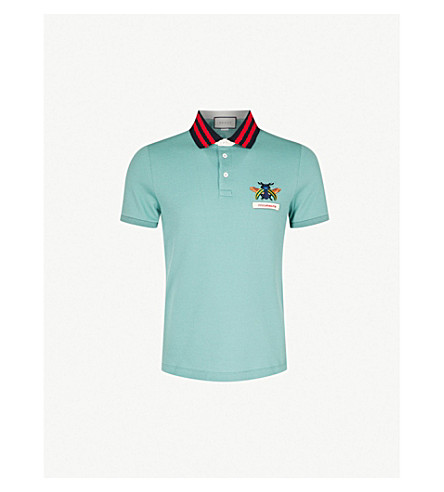 757adf602cf3 ... GUCCI Gucci Animalium stretch-cotton polo shirt (Green. PreviousNext