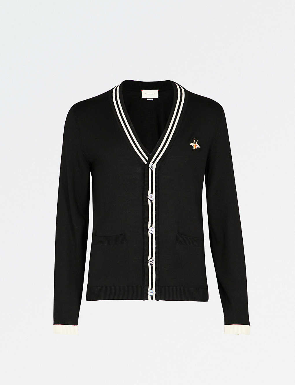d34dbfd659 GUCCI - Bee-embroidered knitted wool cardigan | Selfridges.com