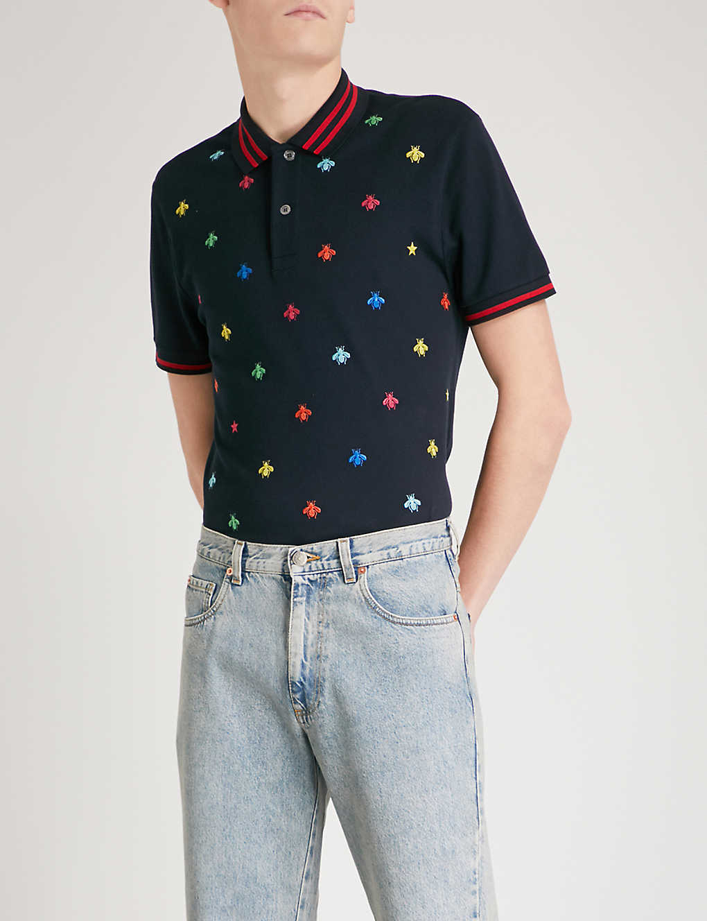 2f5675451172 GUCCI - Bee-embroidered slim-fit stretch-cotton polo shirt ...