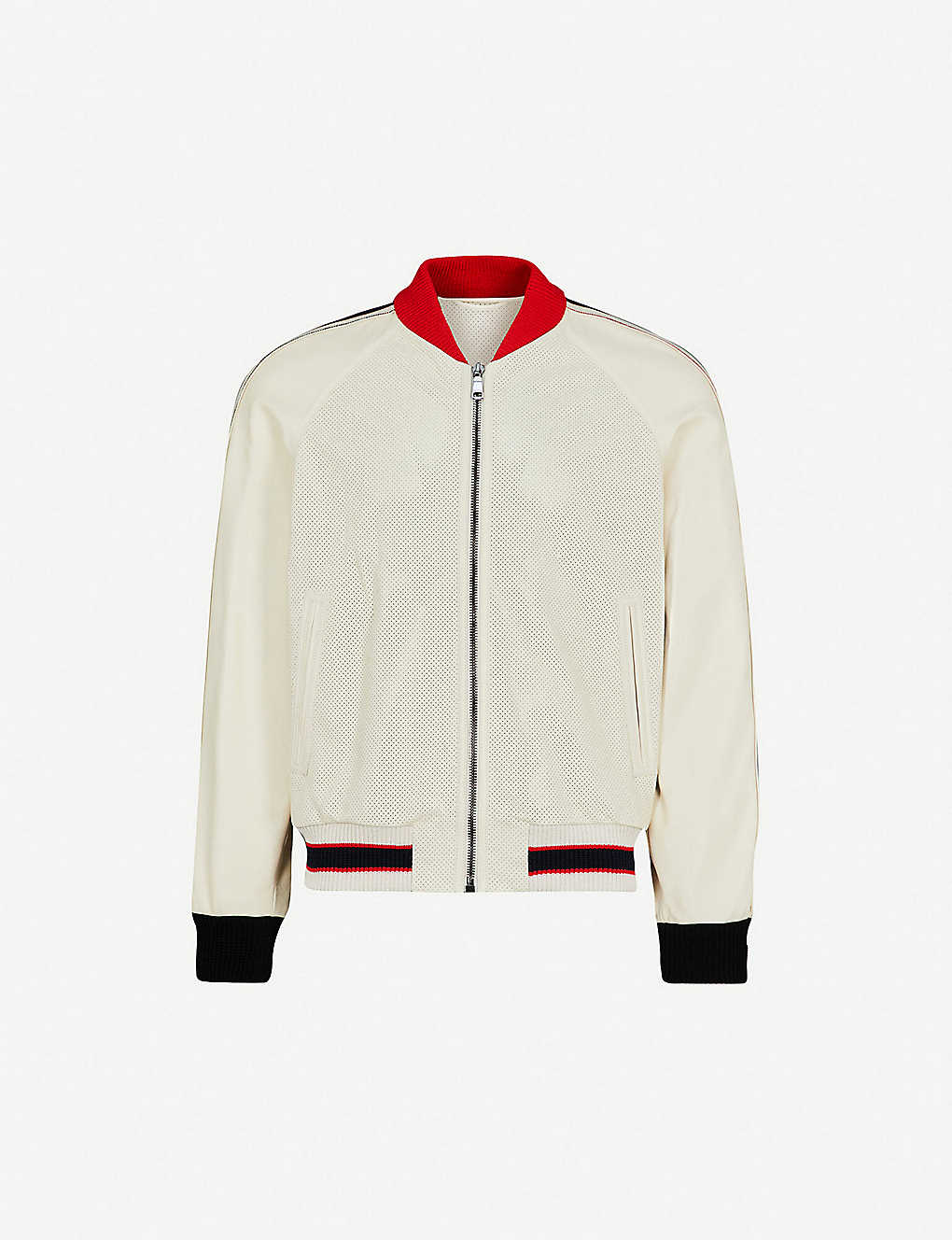 67857755e GUCCI - Perforated logo-print leather bomber jacket | Selfridges.com