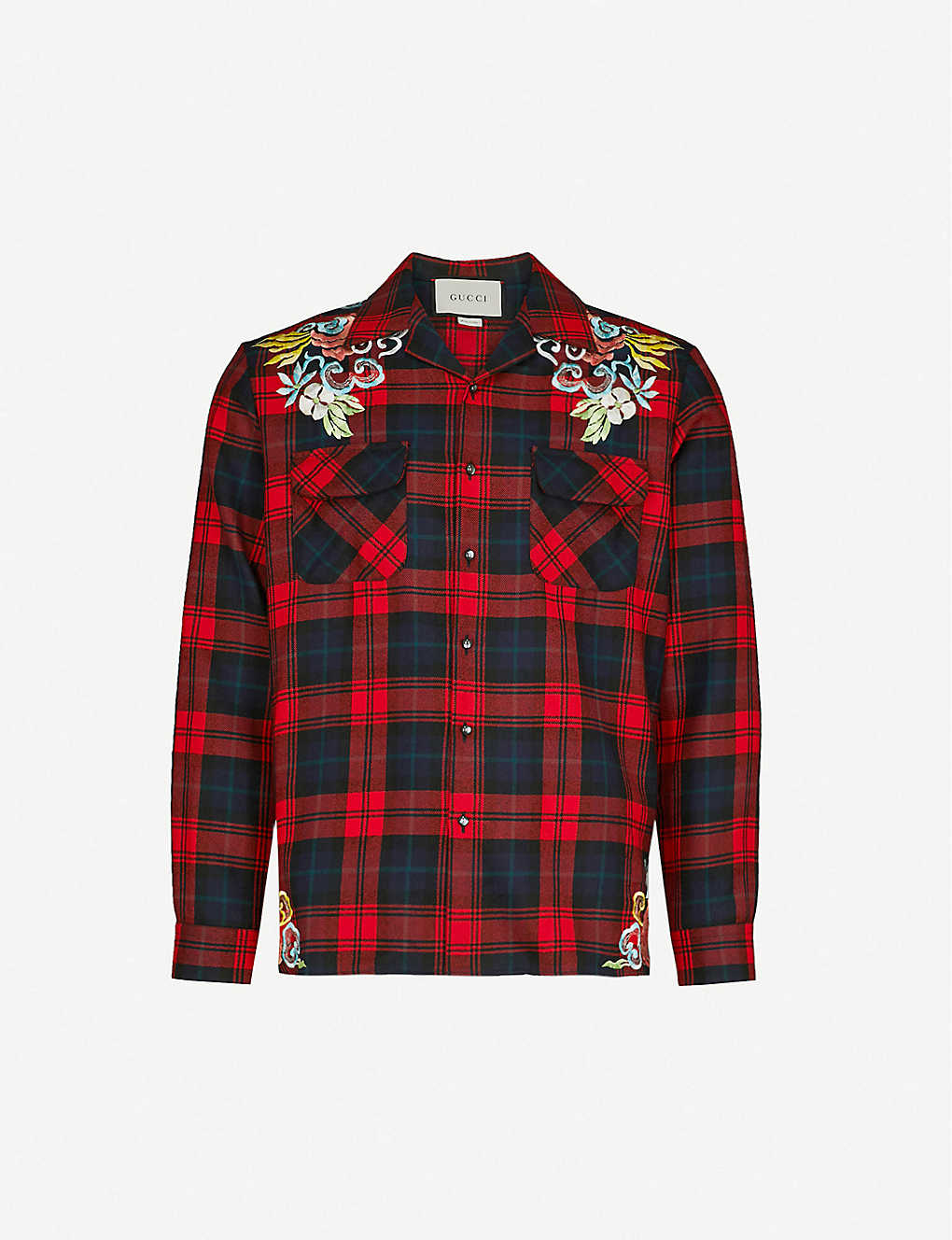fd8252fc GUCCI - Dragon-embroidered checked regular-fit wool-flannel shirt |  Selfridges.com
