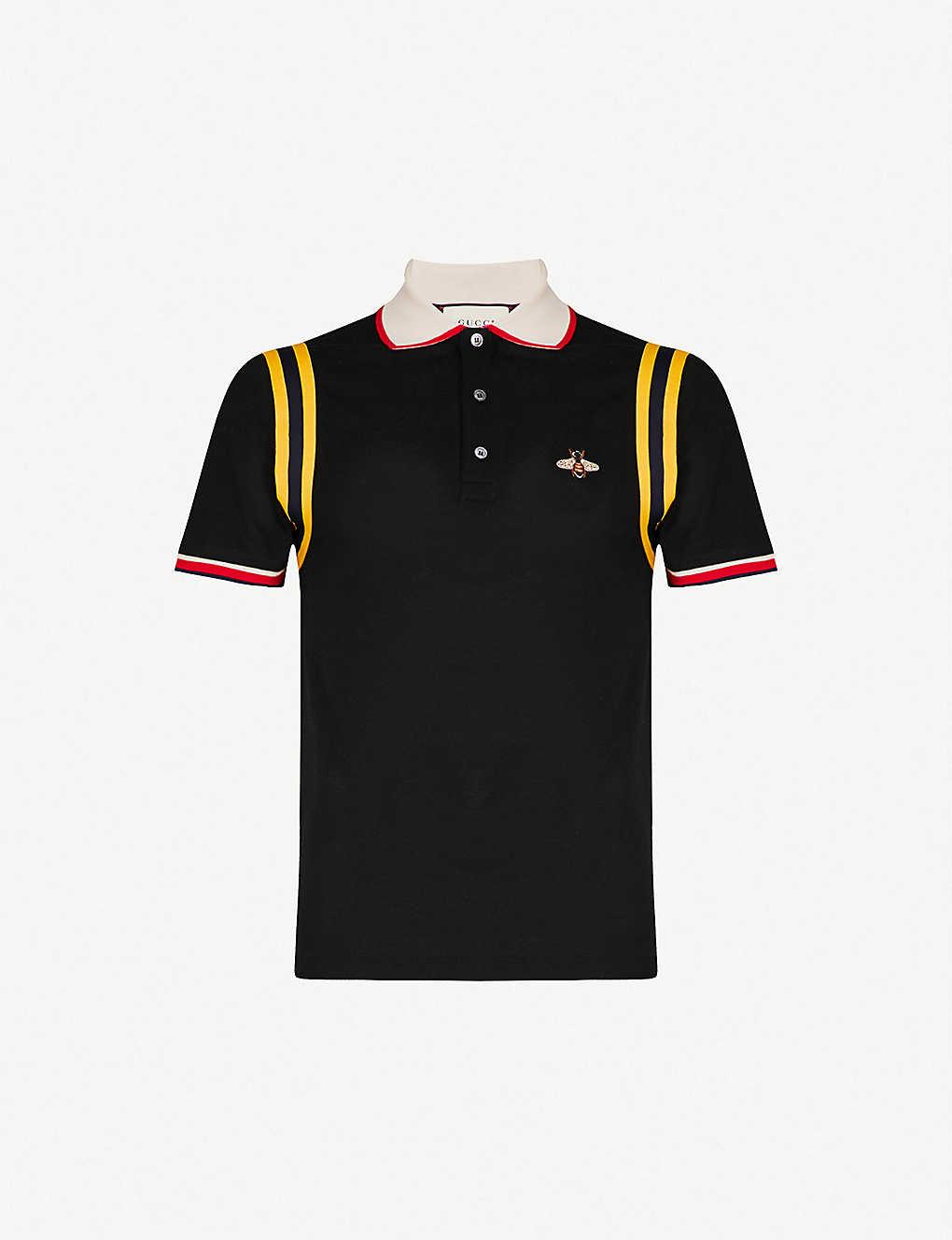 0ee48ad6 GUCCI - Bee-appliqué slim-fit stretch-cotton polo shirt | Selfridges.com
