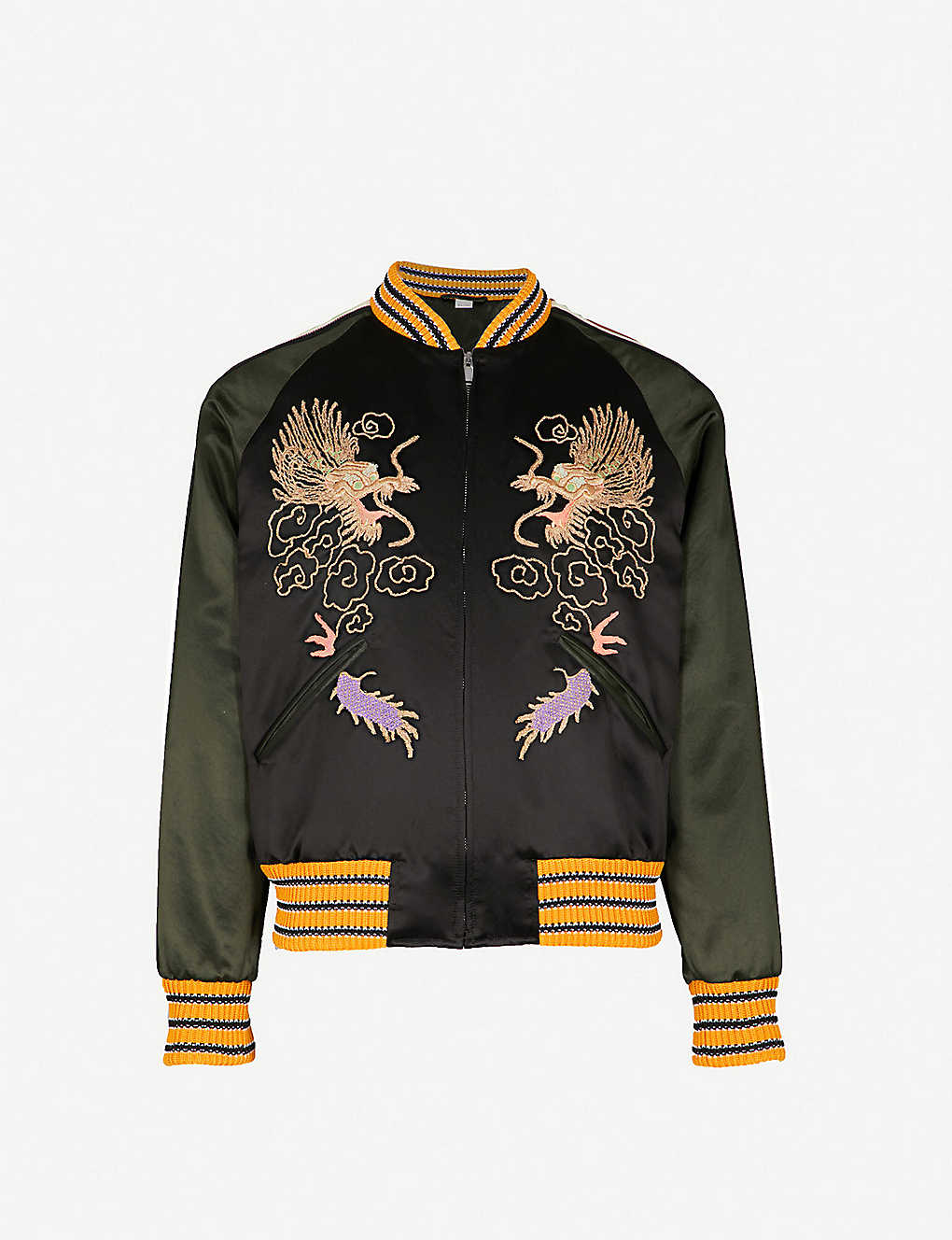 25990da7 GUCCI - Dragon-embroidered satin bomber jacket | Selfridges.com