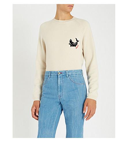 99a2461cfc15f GUCCI Shark intarsia cashmere jumper (White