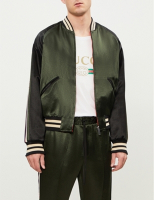 Logo Stripe Satin Bomber Jacket by Gucci