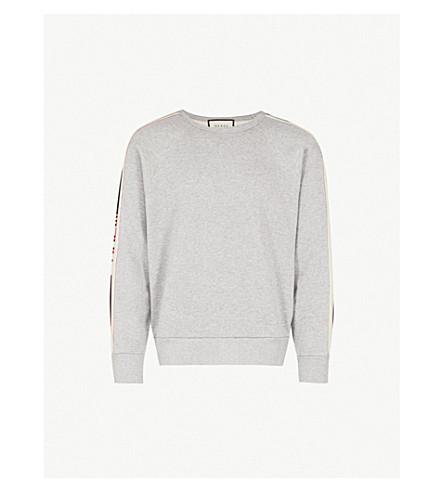 231f405fea GUCCI - Logo side-stripe cotton-jersey sweatshirt | Selfridges.com