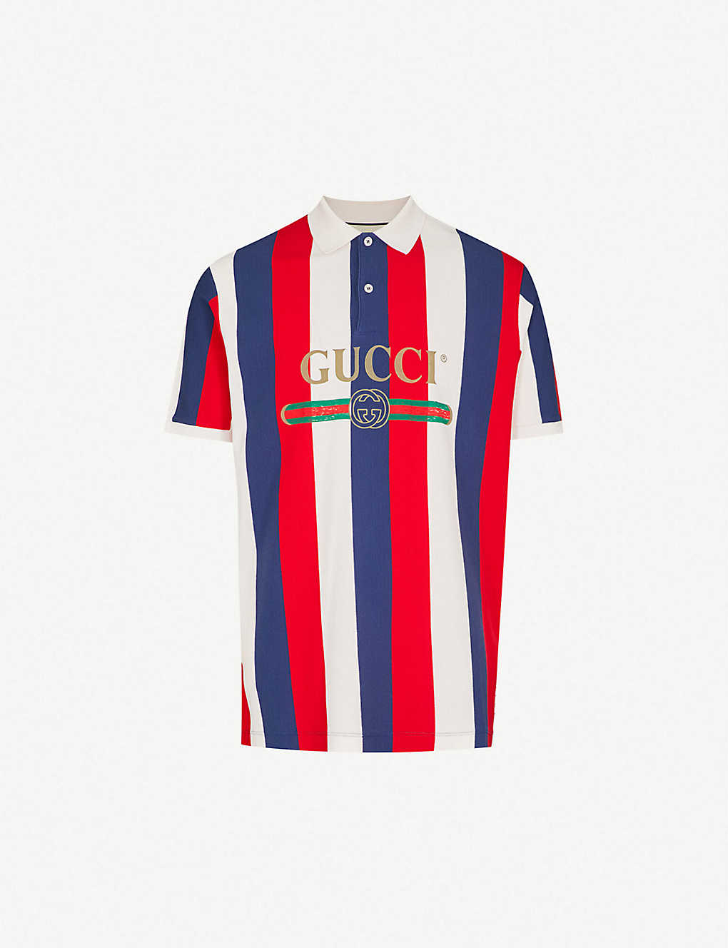 6d7784db GUCCI - Baiadera striped cotton-piqué polo shirt | Selfridges.com