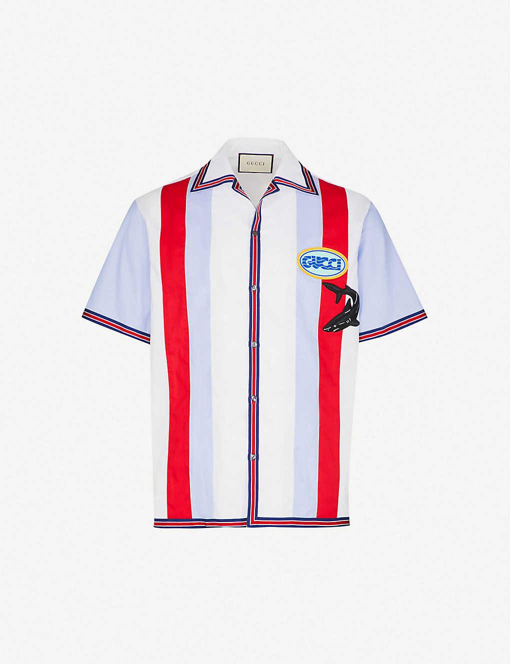 8a27e5651 GUCCI - Striped cotton bowling shirt | Selfridges.com