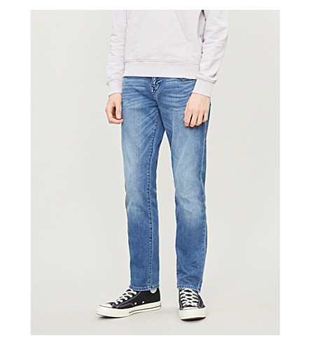 True Religion MENS BLUE CONTRAST GENO SLIM-FIT RELAXED JEANS