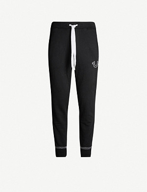 TRUE RELIGION Contrast-stitching cotton-jersey jogging bottoms