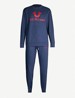 TRUE RELIGION Logo-print cotton-jersey lounge set