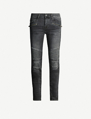 TRUE RELIGION Rocco slim-fit moto ribbed skinny jeans