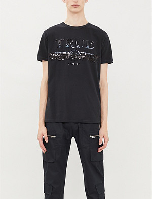 TRUE RELIGION Sequinned-logo cotton-jersey T-shirt