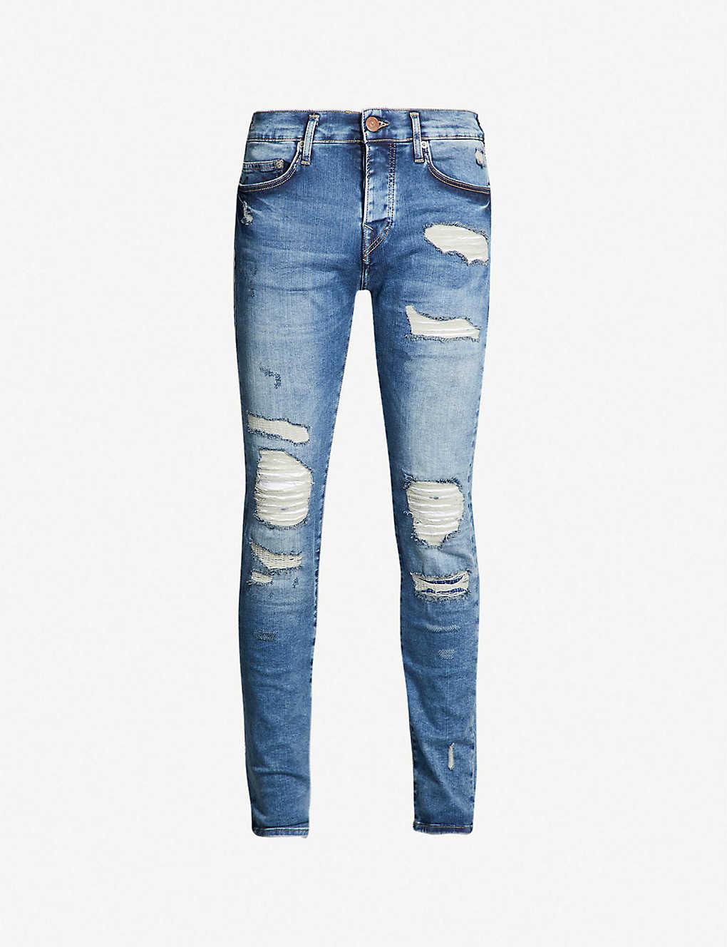 9328d5ba787 ... Rocco destroyed biker relaxed-fit skinny jeans - Blue denim ...