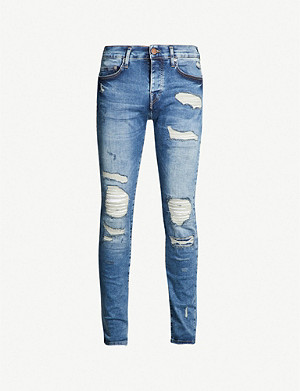 TRUE RELIGION Rocco destroyed biker relaxed-fit skinny jeans