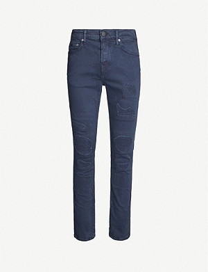 TRUE RELIGION Rocco slim-fit distressed stretch denim jeans