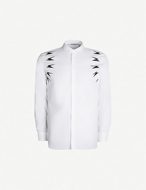 NEIL BARRETT Lightning bolt-print regular-fit cotton-poplin shirt
