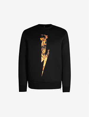 NEIL BARRETT Flame Bolt neoprene sweatshirt