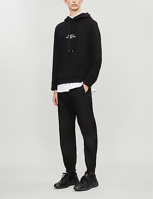 NEIL BARRETT Graphic-print cotton-jersey hoody
