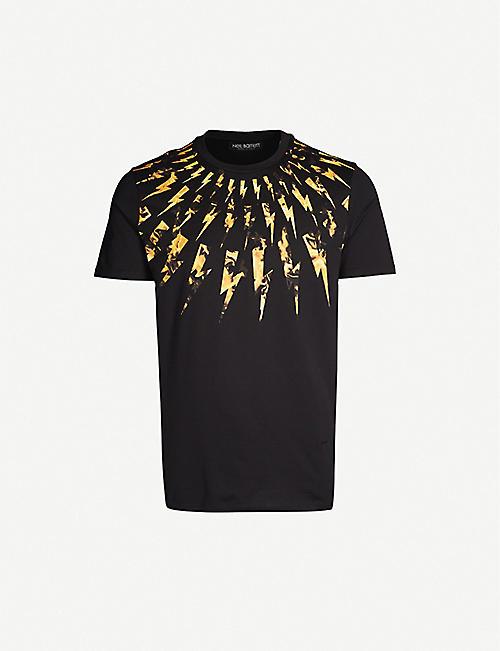 df7049897 NEIL BARRETT Flame lightning bold cotton-jersey T-shirt