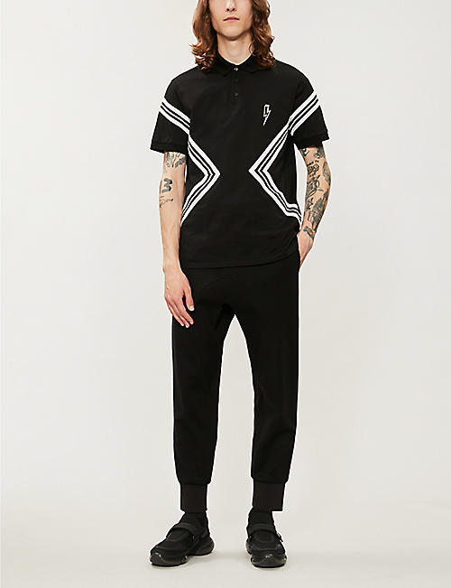 NEIL BARRETT Contrast-stripe cotton-piqué polo-shirt