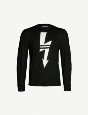 NEIL BARRETT Lightning Bolt-print crewneck wool jumper