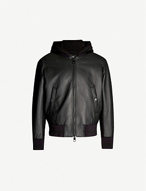 NEIL BARRETT Leather and cotton-jersey jacket