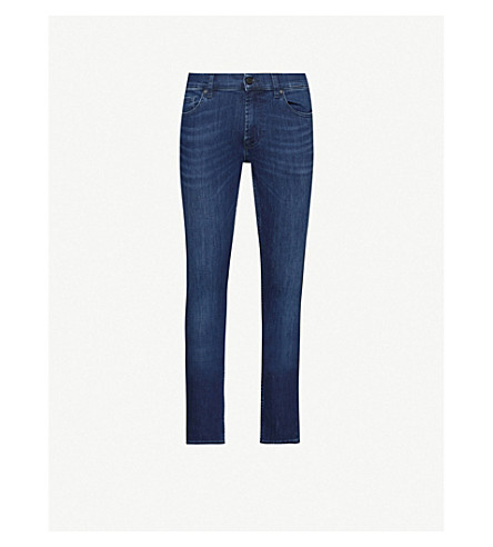 7 For All Mankind Kayden Luxe Performance Slim-fit Straight Jeans In Indigo Blue