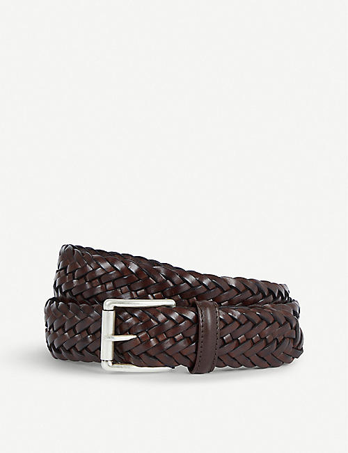 ANDERSONS Woven elastic and leather belt