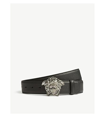6979b6cfaec VERSACE Medusa buckle leather belt (Black+ruthenium