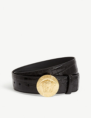 VERSACE Medusa head buckle croc-embossed leather belt
