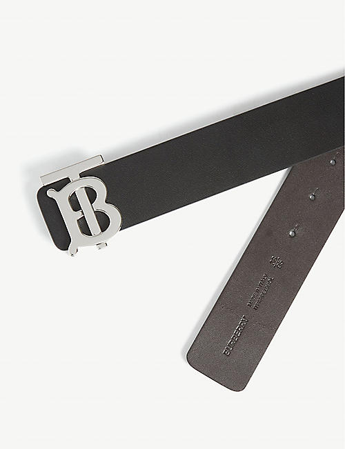 BURBERRY Monogram buckle leather belt