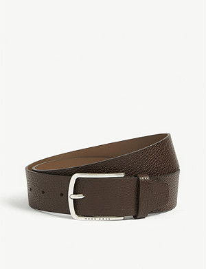 BOSS Sander pebbled leather belt