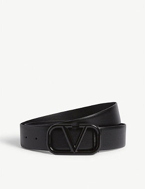 VALENTINO Lacqured Vring leather belt