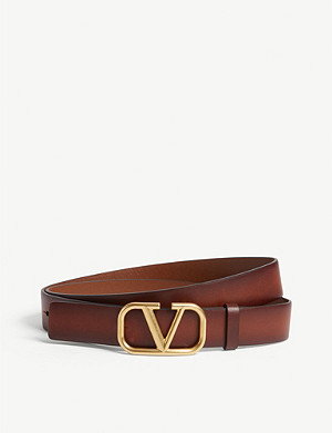 VALENTINO V logo leather belt