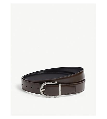 1cdf70887ce9 ... SALVATORE FERRAGAMO Gancini leather belt (Black+brown. PreviousNext
