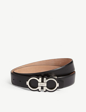 SALVATORE FERRAGAMO Gancini logo leather belt