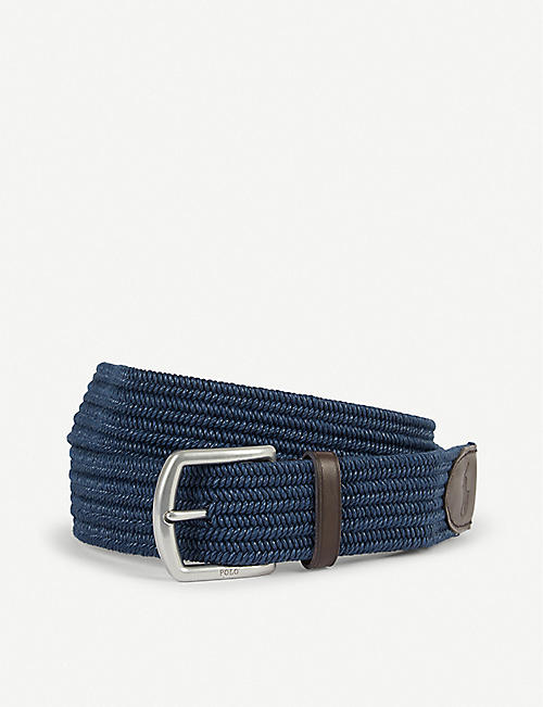 POLO RALPH LAUREN Braided logo-embossed cotton-stretch belt