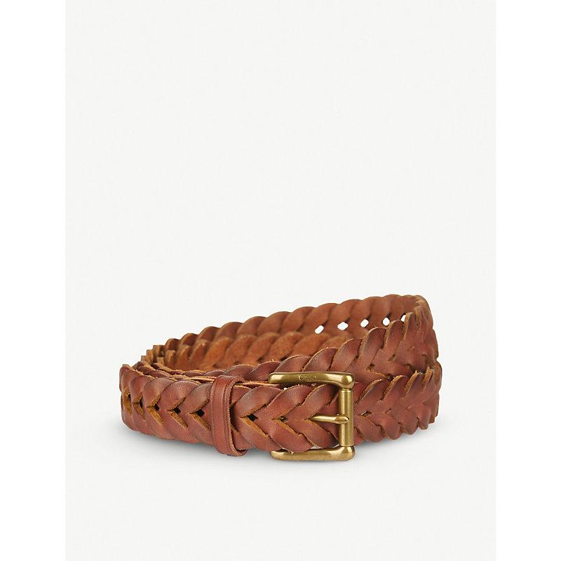 Polo Ralph Lauren Braided Leather Belt In Tan