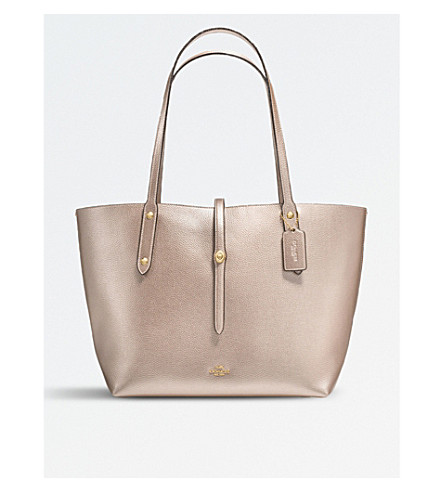 Tote - Metallic Leather Market Tote Platinum Chestnut - gold - Tote for ladies Coach IgyGB