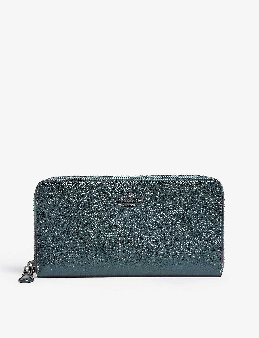 3d5a498f7ced COACH - Accordion metallic leather continental wallet | Selfridges.com