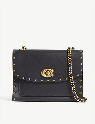 COACH: Parker rivet leather shoulder bag