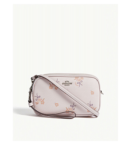 Coach Ladies Ice Pink Floral Vintage Bow Print Leather Cross Body