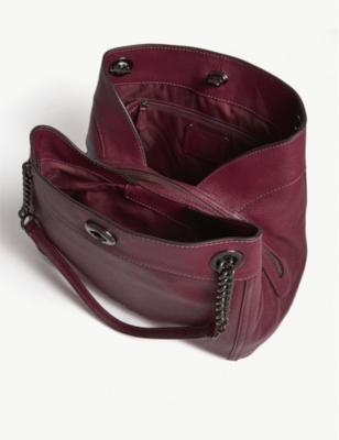 Coach Edie Leather Shoulder Bag In Gm Dark Berry  551af19d381d4
