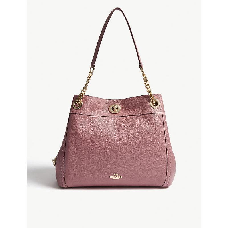 Rose Pink Edie Leather Shoulder Bag in Li/Rose