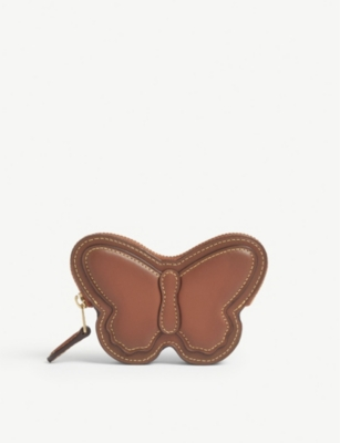 COACH Leather butterfly coin purse